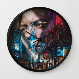 China America double exposure Wall Clock