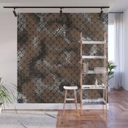 Coffee Brown Scales Pattern Design Wall Mural