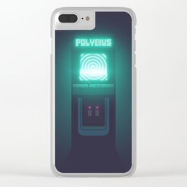 Polybius Arcade Game Machine Cabinet - Front Black Clear iPhone Case