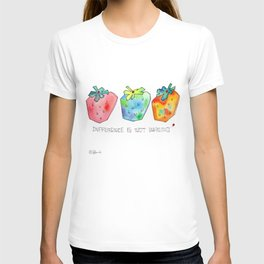 Difference Is Not Wrong watercolor painting strawberry illustration fruits nursery kitchen T-shirt