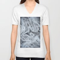 monet V-neck T-shirts featuring Monet Style Blue abstract by David Pyatt