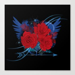 Roses and wings rock chic Canvas Print