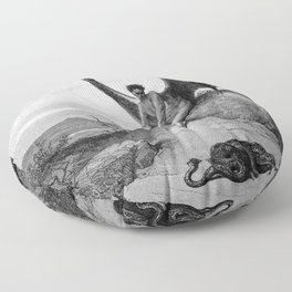 Lucifer, the fallen angel - Gustave Dore Floor Pillow