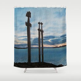 Three Swords - Stavanger Norway / Oil Painting Shower Curtain