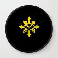 warhammer Wall Clocks featuring Warhammer 40k Black Legion Minimalist Poster by Milos Cakovan