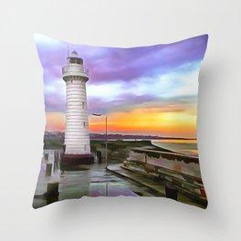 Donaghadee Lighthouse, Ireland. (Painting) Throw Pillow