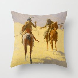 "Frederic Remington Western Art ""The Parley"" Throw Pillow"