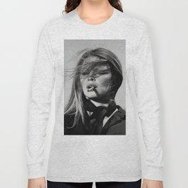 Brigitte Bardot Smoking a Cigarette, Black and White Photograph Long Sleeve T-shirt