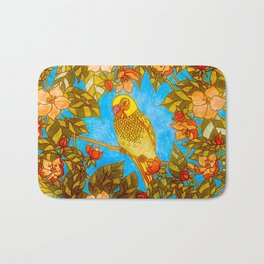 Colourful Yellow Parakeet In Flowery Wreath Bath Mat