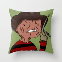 freddy krueger Throw Pillows featuring Adventure Time with Freddy Krueger by Tinsel Pencil