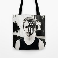 american psycho Tote Bags featuring American Beauty/American Psycho by ClassicalSass