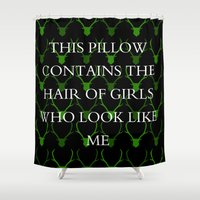 hair Shower Curtains featuring hair by idontfindyouthatinteresting