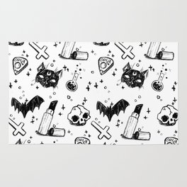 Bats, Cats and Skuls, Oh My! (B/W) Rug