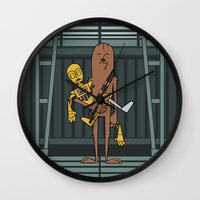 c3po Wall Clocks featuring EP5 : Chewie & C3PO by Jason Yang