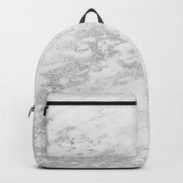 Light Grey Marble Silver Glitter Gray Backpack