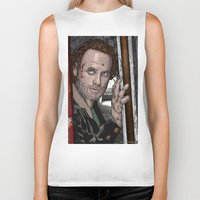 rick grimes Biker Tanks featuring Rick Grimes  Walking Dead by Kenneth Shinabery