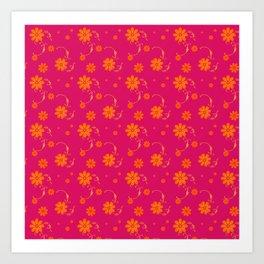 Orange Daisy Flowers on Hot Pink Background Art Print
