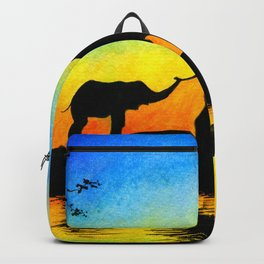 African Sunset Elephant Silhouette Backpack