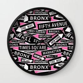 New York City Street Signs Typographic Pattern Wall Clock