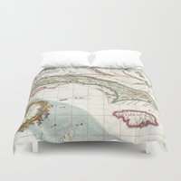 jamaica Duvet Covers featuring Vintage Map of Cuba and Jamaica (1763) by BravuraMedia