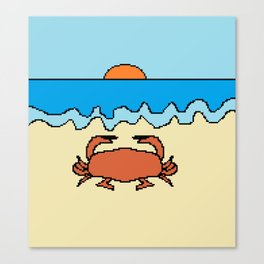 crab on beach with sunset Canvas Print