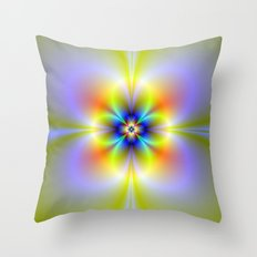 Neon Flower Throw Pillow