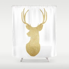 Gold Glitter Reindeer Shower Curtain
