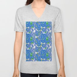Morning Glory + Bluebells in White Unisex V-Neck