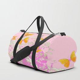 GOLDEN BUTTERFLIES IN PINK LACE GARDEN Duffle Bag