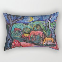 Moonlight on the Horses by the Pool landscape painting by William Sommer Rectangular Pillow