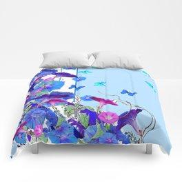 BLUE BUTTERFLIES & PURPLE MORNING GLORIES Comforters