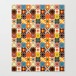 Maroccan tiles pattern with red an blue no2 Canvas Print