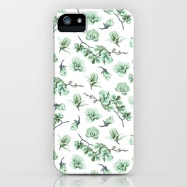 Pastel green watercolor modern orchid floral pattern iPhone Case