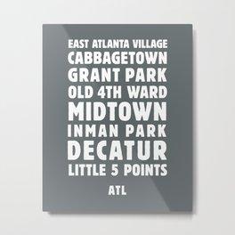Atlanta Neighborhoods (Charcoal) Metal Print
