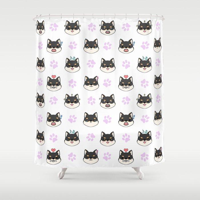 Chibi Shibas Black Tan Shower Curtain By Lilium