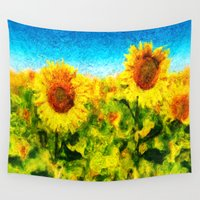 sunflowers Wall Tapestries featuring sunflowers by KrisLeov