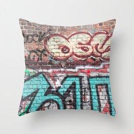 Wall With Street Grafitti Throw Pillow