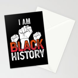 I Am Black History Month African American Fist Pride Stationery Cards