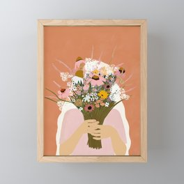 HIDING BEHIND THE FLOWERS illustration Framed Mini Art Print