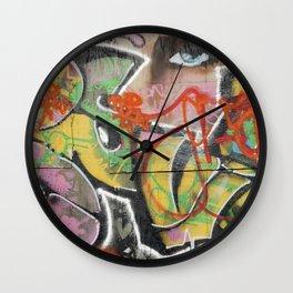 found street art urban graffiti layers texture pattern lettering portrait Wall Clock