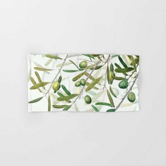 Green Olive watercolor painting Hand & Bath Towel