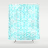 aqua Shower Curtains featuring Aqua Blue Damask by 2sweet4words Designs