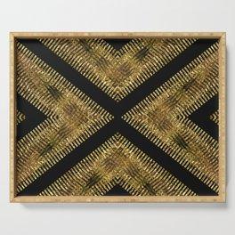 Black Gold | Tribal Geometric Serving Tray
