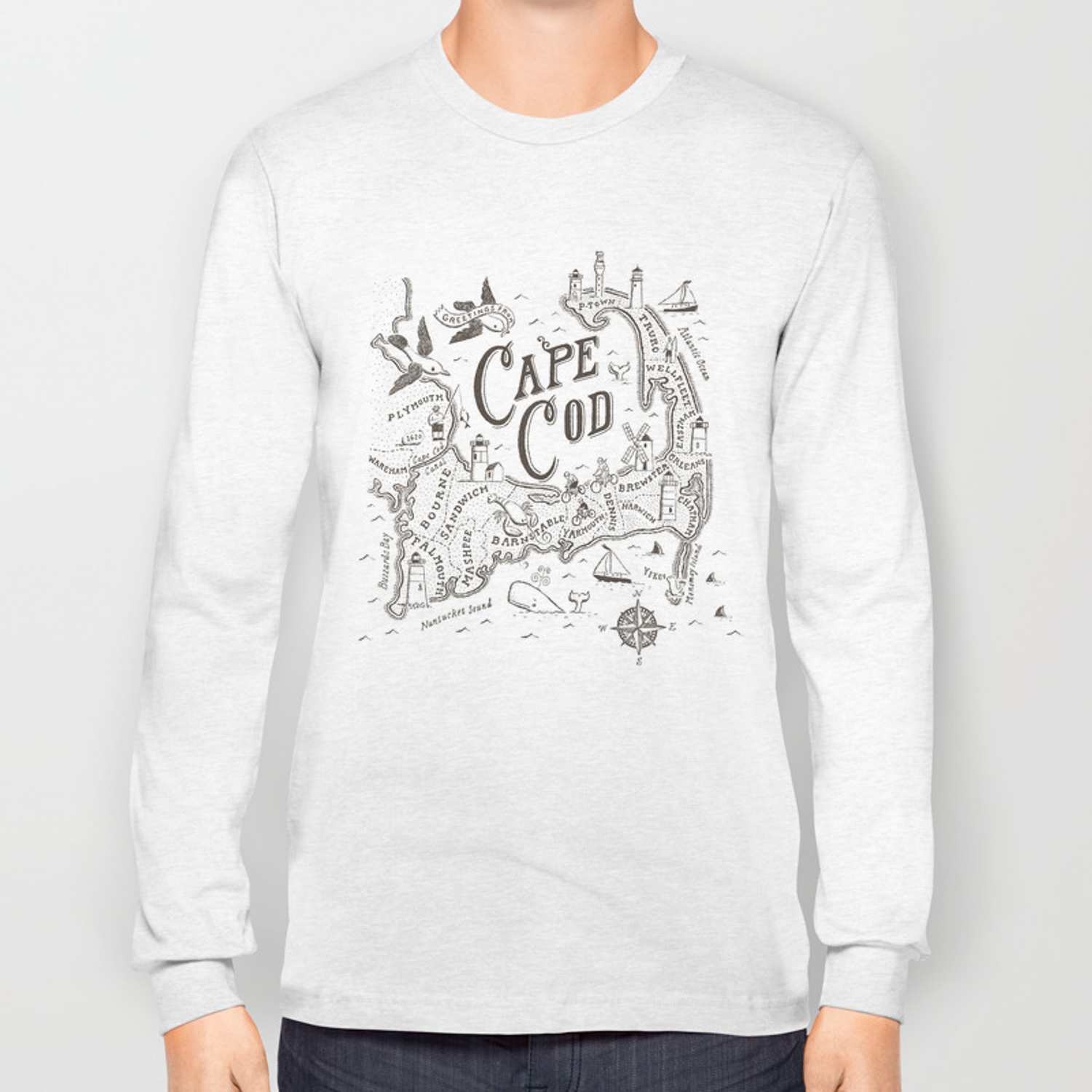 Cape Cod Map Long Sleeve T-shirt by ryanorourke