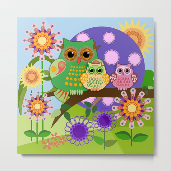 Owls, Flowers Fantasy design Metal Print