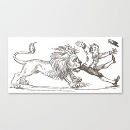 Vintage Children's Book Illustration - Lion and Keeper Canvas Print