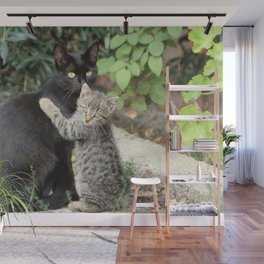 Mommy and me Kitten and Mother Cat Portrait Wall Mural