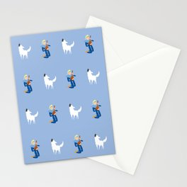 Boy with Guitar and Singing white Dog, blue,  boys and Girls Stationery Cards