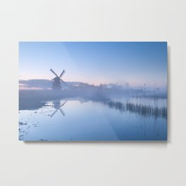 Serene sunrise and windmill Metal Print