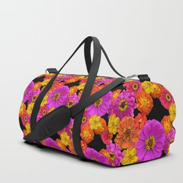 Colorful Flowers on Black Duffle Bag